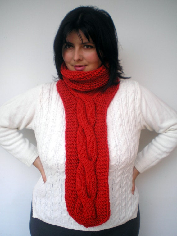 Red Tie Fashion   Cowl Super Soft l Neckwarmer Unisex Trendy  Cabled Cowl