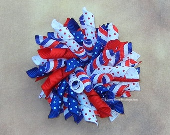 """BIG Patriotic Korker Hair Bow - 3.5"""" RoseyBow® Stripes & Polka Dots Hair Bow - Pom Pom Hair Bow - Red, White and Blue 4th July Hair Bow"""