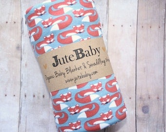 Fox Organic Baby Blanket, Fox Print Baby Blanket, Swaddle Wrap, Baby Swaddle Toddler Blanket by JuteBaby