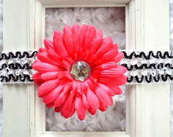 Hot Pink Removable Gerbera Daisy Flower Hair Clip On a Zebra Striped Black and White Crochet Elastic Headband - Girl Baby Accessory Bow