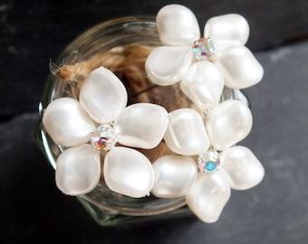 Pearl hairpin, frangipani flower hair pin with diamanté accent, bridal hair accessories, white swarovski pearl and rhinestone