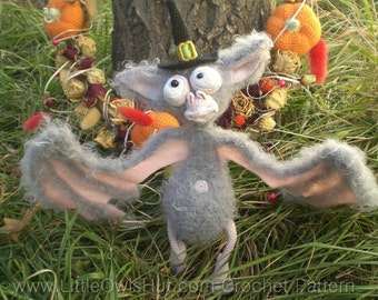 033 Bat Halloween Crochet Pattern.  Toy with wire frame Amigurumi - PDF file by Astashova Etsy