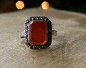 Art Deco Revival Ring - Carnelian Cocktail Ring - 1970s Jewelry - Flapper Ring - Red Orange Stone with Sterling Silver and Marcasites