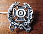 Sterling Silver Maltese Cross Sharpshooter Medal, WWII, PinBack, Wreath, Target, Marksman Badge, Military