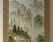 Vintage Japanese Wall Scroll - Colored Ink Drawing of Mountain Scene by Waterfall