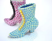 Miniature Victorian Shoe Boot Blue and Yellow Polymer Clay over Porcelain