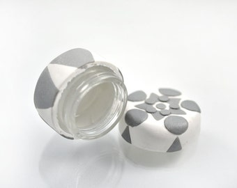 White and Metallic Silver Pill or Mints Jar - upcycled Polymer Clay