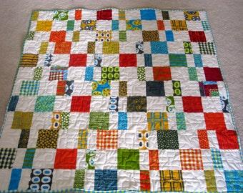 Homemade Patchwork Quilt, Masculine Quilt, Throw Blanket, Modern Lap Quilt, Sofa Throw,