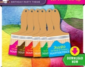 Art Paint Party Favor Tags | Printable Paint Brush Tag 6 Rainbow Colors | Instant Download | Invitation and more Decorations Available