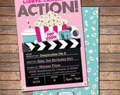 Movie Invitation, Movie Party Invitation, Printable Girls Movie Party Invite, Movie Birthday Invitations, Movie Ticket Invitation
