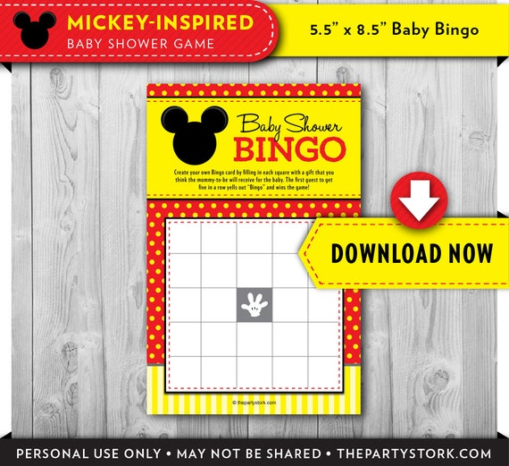 mickey mouse baby shower bingo card printable baby shower game boy