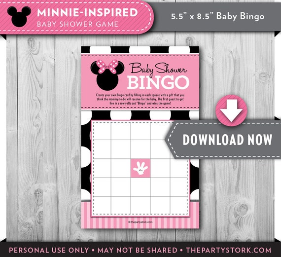 girl baby shower games minnie mouse bingo card printable, Printable invitations
