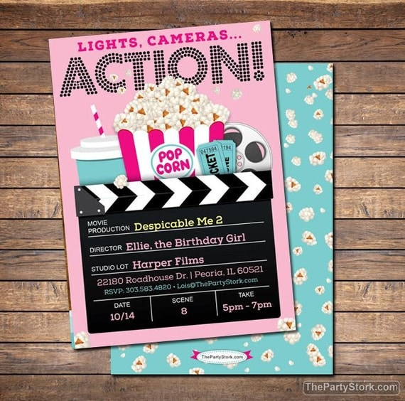 Movie Invitation Movie Party Invitation Printable Girls Movie