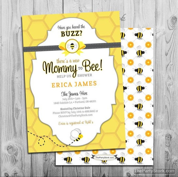 Bee Baby Shower Invitation Printable Mommy to Bee invitations