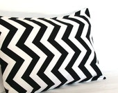 Lumbar Decorative Throw Pillow Cover, Black and White Chevron - 12x16 inch ZigZag Travel Neck Cushion Cover