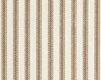 Brown Ticking Throw Pillow Cover - 22x22, 24x24 or Euro 26x26 inch Decorative Cushion Cover - Brown Ivory Ticking Stripe