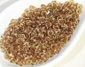 Czech Faceted Machine Cut Beads 4mm (50) Brown Beige Topaz Bicone