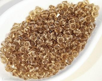 Czech Faceted Machine Cut Beads 4mm (50) Brown Beige Topaz Bicone last