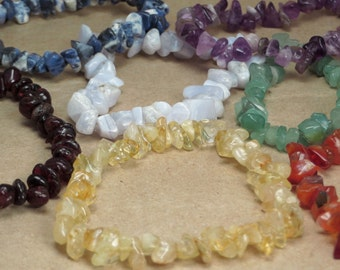 Set of Seven Chakra Stone Chip Stretch Bracelets - Custom Made - OOAK Chakra Balancing Reiki Infused Jewelry Stacking