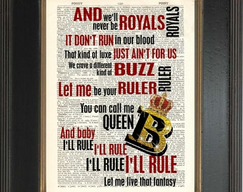 Lorde Royals Song Lyrics print on upcycled Vintage Dictionary Page mixed media digital Dictionary Print Encyclopedia