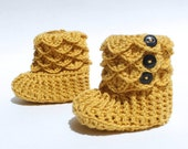 Crochet Crocodile Baby Girl Slipper Booties, Made to Order