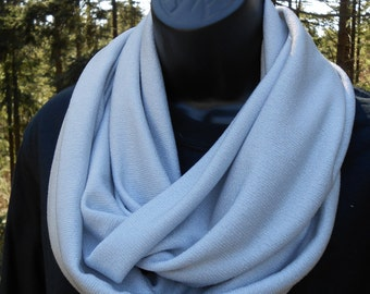 Silver Stretch Knit Infinity Wrap Scarf HandMade in Victoria, BC, Canada.  Great gift for moms sisters friends daughters