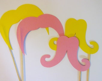4 Mustaches on a sticks, Wedding photo props, photo booth props