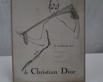 French Fashion Dior Art Paris Department Store Advertisement 50s w590