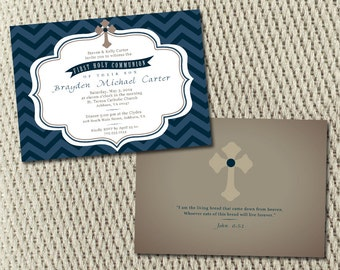 Chevron Navy and Tan First Communion Printed Invitation 2 sided: Set of 25