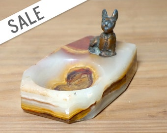 Vintage Dog Trinket Dish, Marble Base, Ring Holder, Scottie, Schnauzer, Ashtray SALE