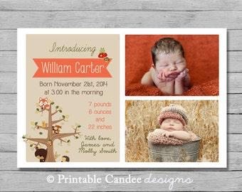 Woodland Baby Boy Birth Announcement - Forest Friends - DIY Custom Printable