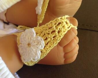 Sandals, Baby Girls Yellow Crochet Barefoot Sandals