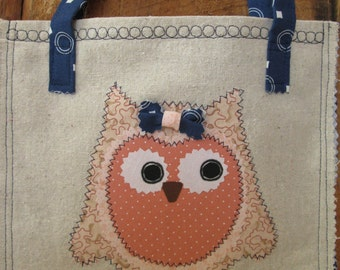 Child Girl Owl Purse Peach Navy White Circles Cotton Fabric Osnaburg Fabric Embroidery Navy White Dot Handles Straps