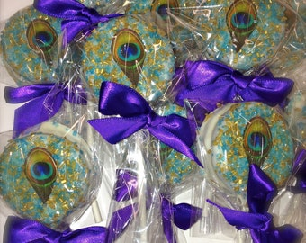 Edible Wedding Favors Chocolate Dipped Oreo Pops Frost The Cake Peacock Feathers Mardi Gras