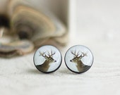 Deer Posts, Forest Deer Studs, Tiny Earrings