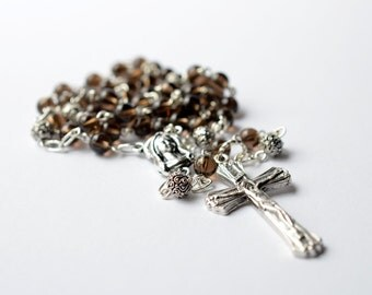 Smoky Quartz Gemstone Catholic Rosary Necklace, Smoky Quartz Traditional 5 Decade Catholic Rosary