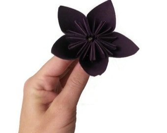 "Deep Purple Kusudama Origami Paper Flower with HAY 9"" Stem"