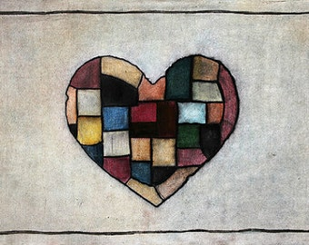 Art Print. Patchwork Heart. Beating.