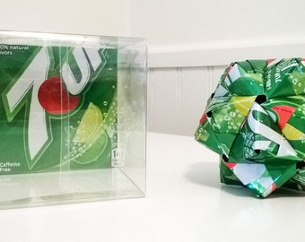 7up Can Origami Ornament.  Upcycled Recycled Repurposed Art