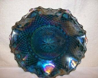 Carnival Glass Dish, Diamond Pinwheel