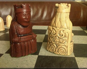 Authentic Isle of Lewis Chess Set plus Two Extra Queens - Deep Walnut and Mellow Ivory with optional Vinyl Chess Board