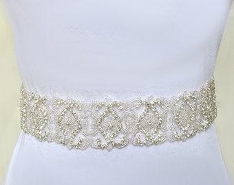 Bridal sash belt, wedding sash belt, Rhinestone sash belt, Bead Sash Belt , rhinestone bridal belt, Crystal sash belt, Wide sash, boho