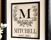 Personalized Cotton Monogram with Vintage Wreath- Last Name Gift- Great Gift for Engagements, Weddings, Birth Announcement, etc.