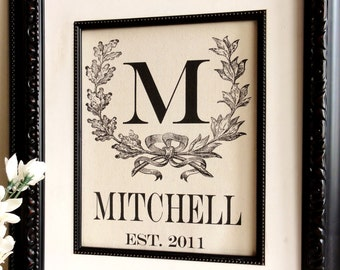 2nd Year Anniversary, Cotton Monogram with Vintage Wreath- Last Name - Great Gift for Engagements, Weddings, Birth Announcement, etc.
