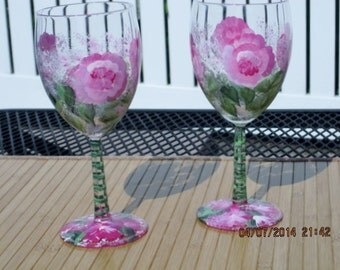 Hand painted Wine Glasses with pink Roses green leafes stem and base painted with same colors
