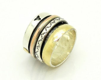 Wide spinner ring with silver & Rose gold bands