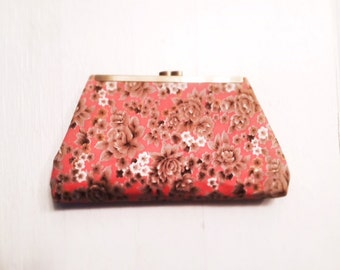 SPRUNG- vintage pink and beige floral pattern framed clutch, purse, pocket book, evening bag