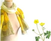 Meadow buttercup silk scarf Yellow flowers silk scarf Hand painted floral scarf