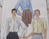 Vogue 9202 Pattern Misses'  Blouse 1990's Size 8-12 Vintage