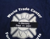 Upcycled commemorative World Trade Center Forever in our Hearts in memory September 11, 2011 tshirt totebag in navy with FDNY on back